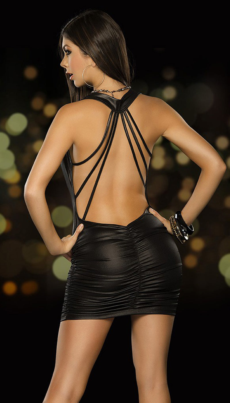 Black Strappy Back Halter Mini Dress Back ES4251BLK