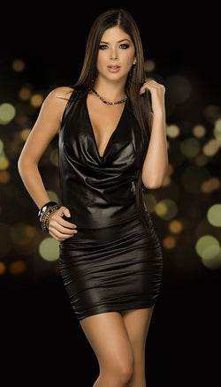Black Strappy Back Halter Mini Dress Front ES4251BLK