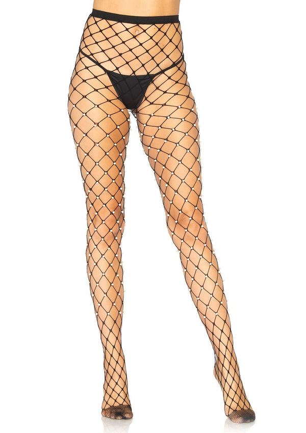 Faux Pearl Net Tights