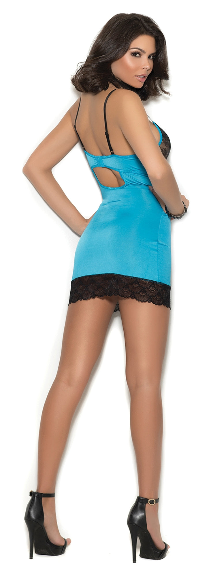 EM-4355 Satin chemise with lace underwire cups back