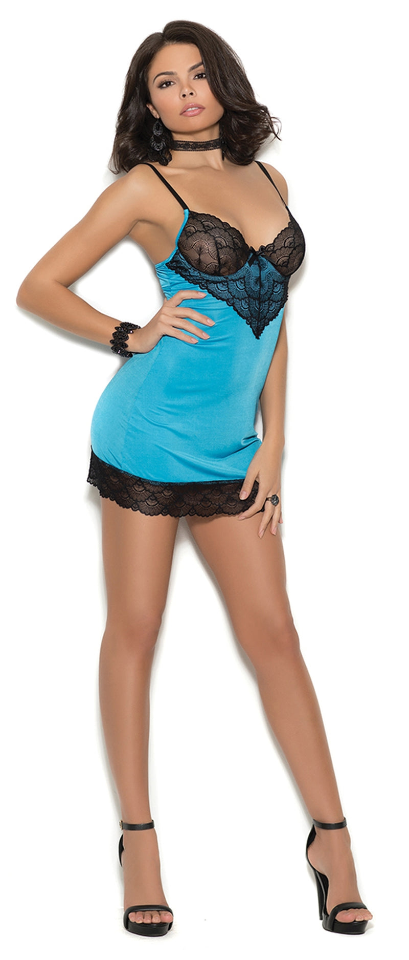 EM-4355 Satin chemise with lace underwire cups front