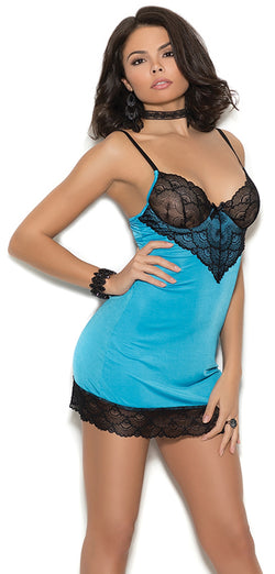 EM-4355 Satin chemise with lace underwire cups