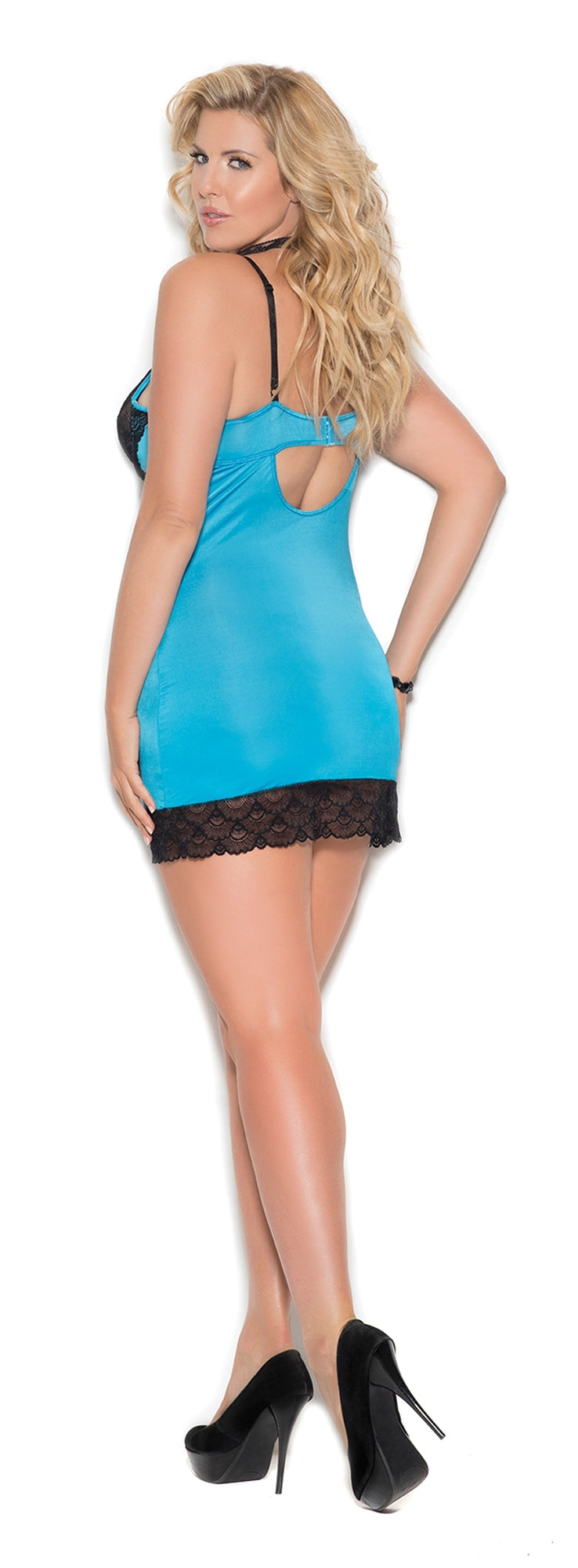 EM-4355 Satin chemise with lace underwire cups plus back
