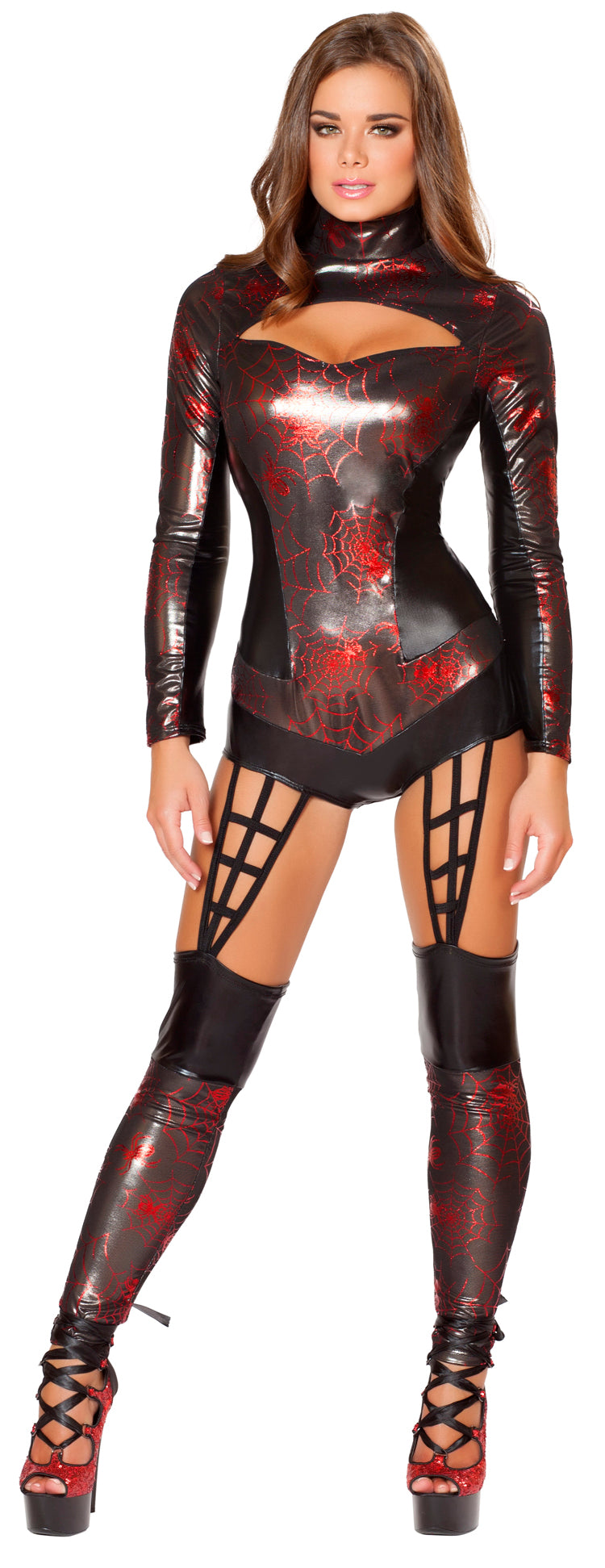 Sexy Black Spider Woman Costume Front RM4490