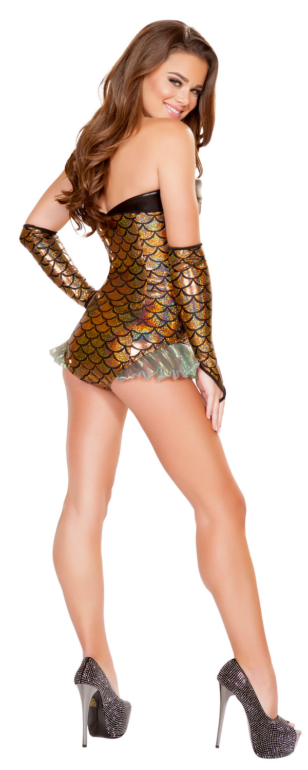 Gold Mermaid Romper Costume RM-4663 back