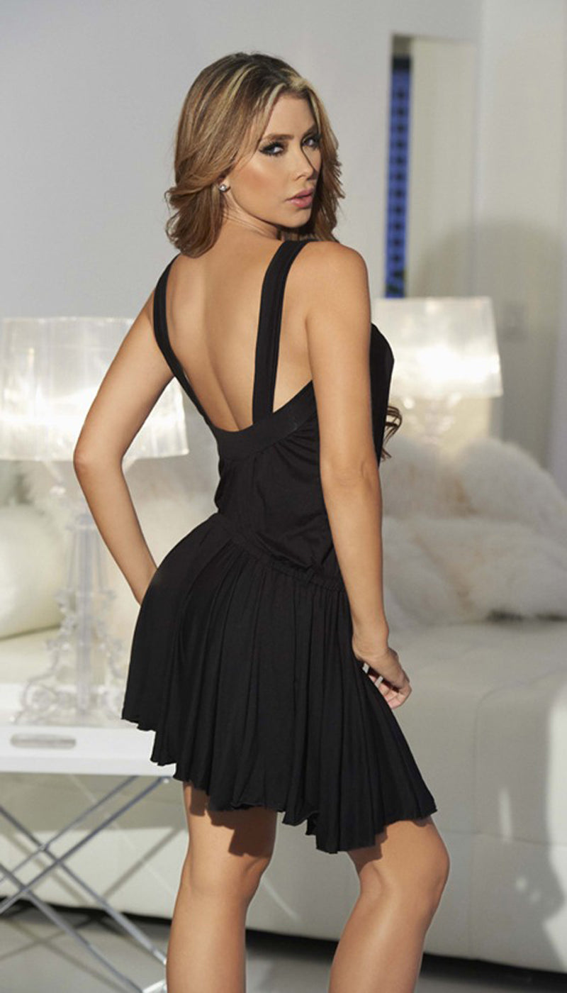 Black Shimmering Mini Dress Back ES4800BLK