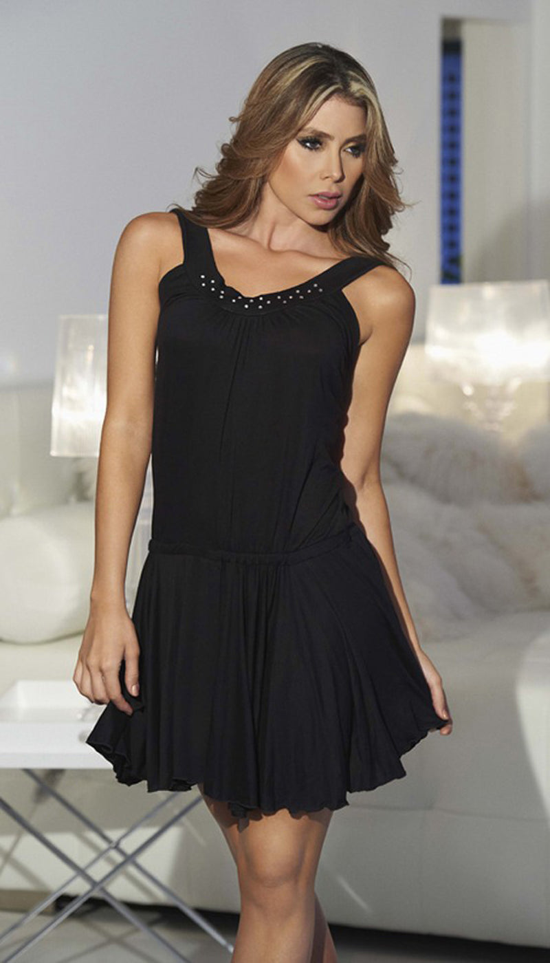 Black Shimmering Mini Dress Front ES4800BLK