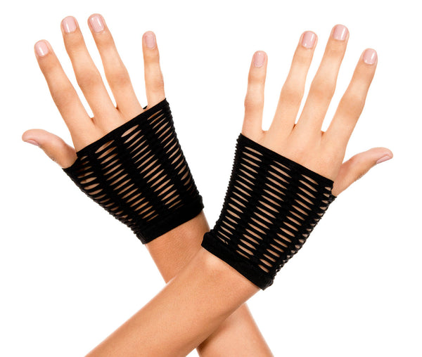 Oval Net Black Gloves