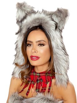 RM-4832 Faux fur wolf hood with ears