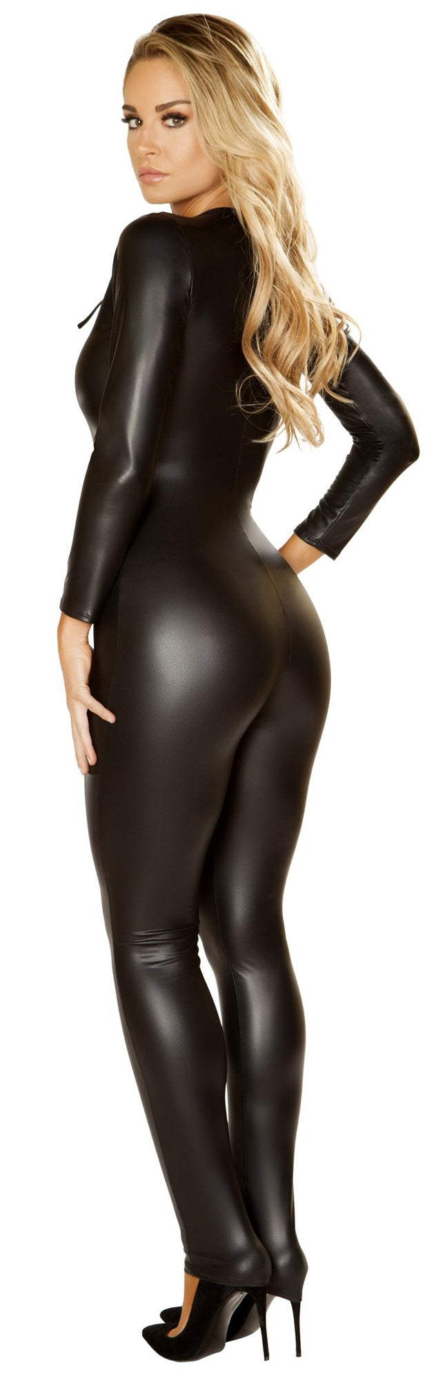 RM-4862 Black catsuit by Roma Costume back