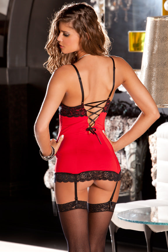 Hollywood Chemise Set Red Back RR512037