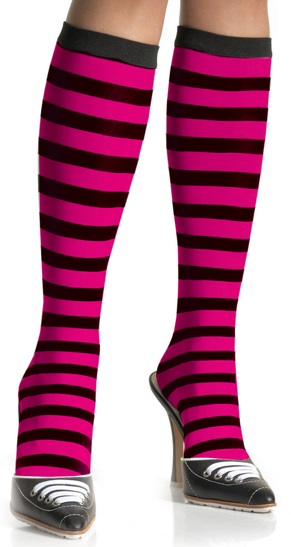 Black and Hot Pink Striped Knee Highs LA5577BHP