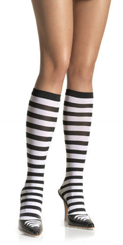 Black and White Striped Knee Highs LA5577BW