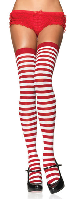 Red and White Striped Thigh Highs LA6005RW