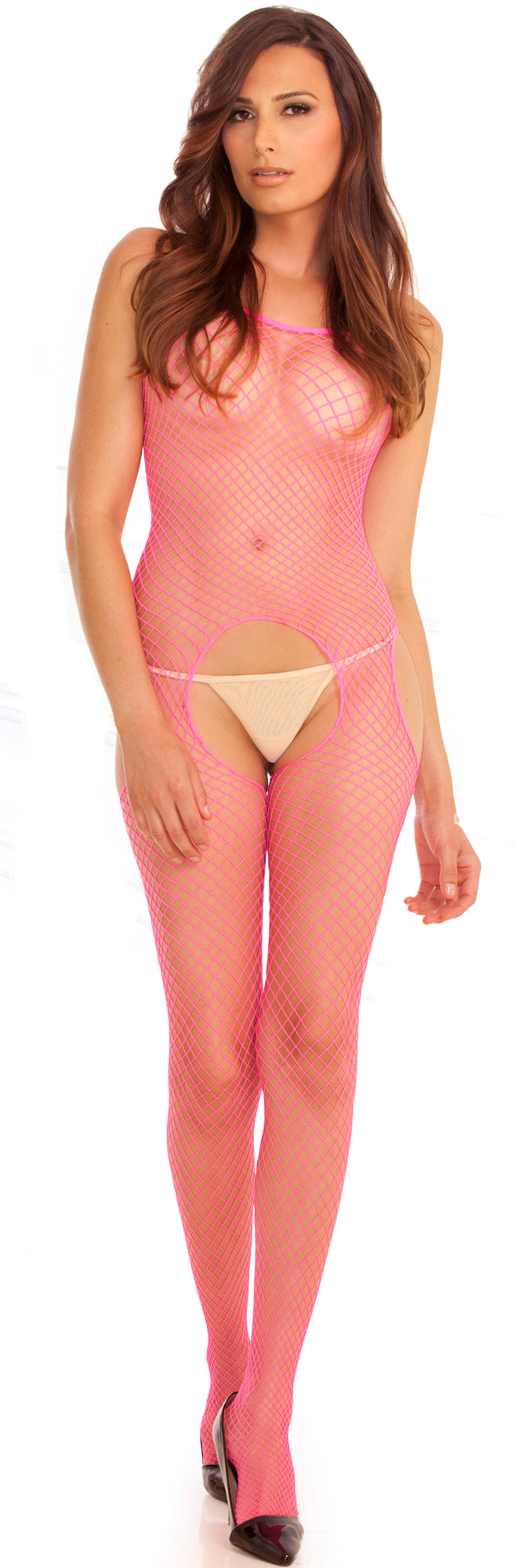 Industrial Net Suspender Bodystocking RR7002-HON Pink Front