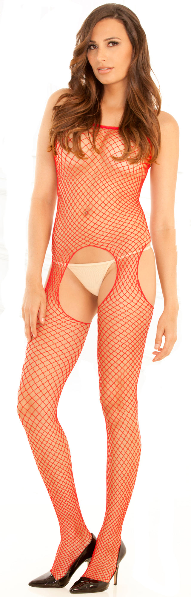 Industrial Net Suspender Bodystocking RR7002-HON Red Front