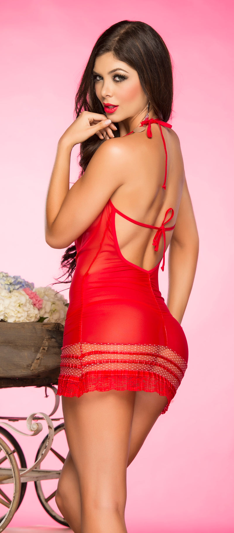 Sheer Red Chemise and G String Back ES7052