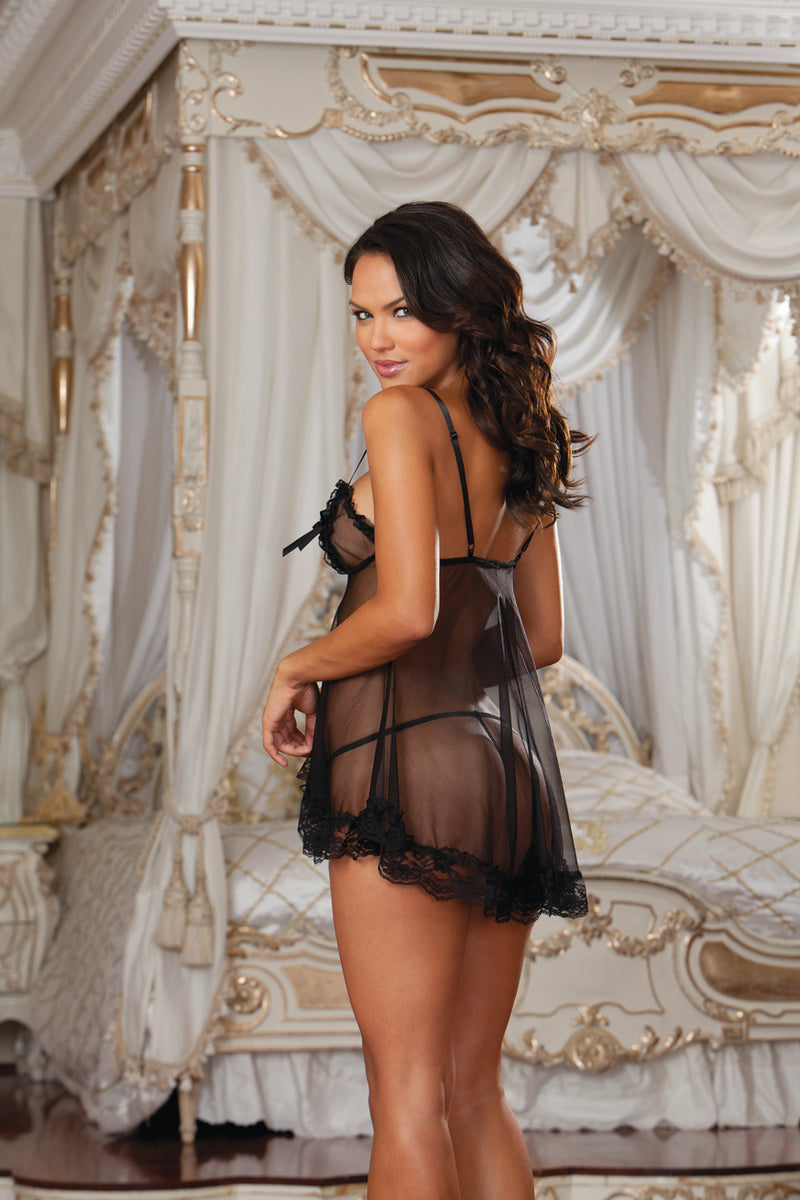Baby Doll and G-String Black Back DG7237
