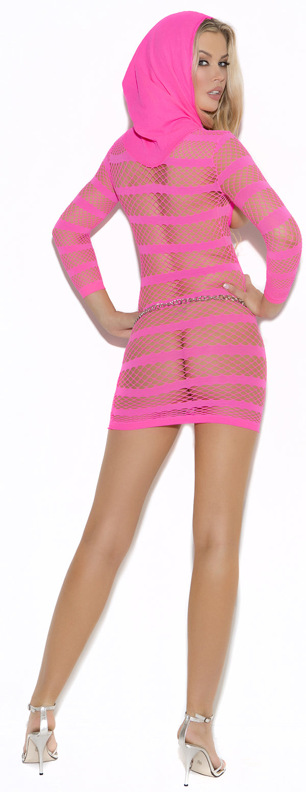 Pink Fishnet Hooded Open Cup Dress EM8005 Back