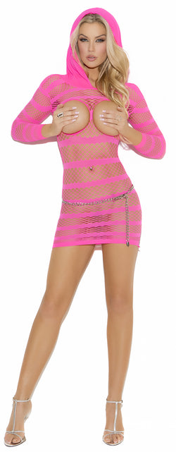 Pink Fishnet Hooded Open Cup Dress EM8005 Front