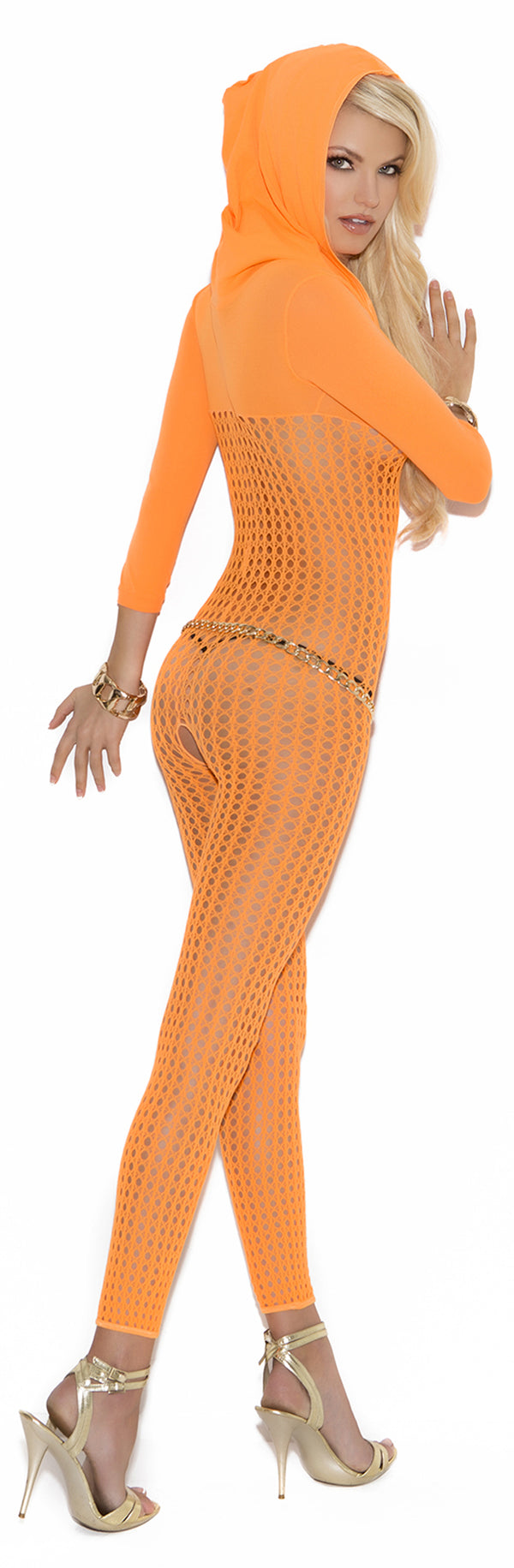 Neon Orange Crochet bodystocking EM8011 Back