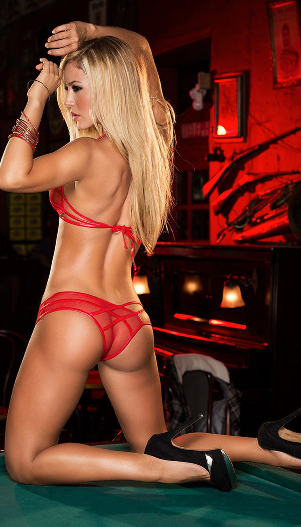 Red Strappy Mesh Panty Set Back ES8100