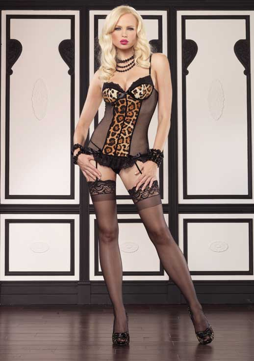 Underwire Fishnet Dress Leg Ave 81283 Leopard