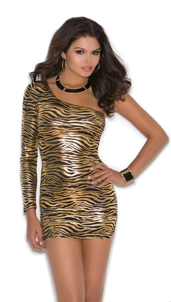 One Shoulder Animal Print Mini Dress Front EM8264