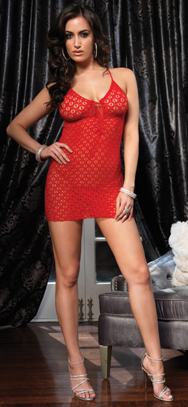 Red Lace Mini Dress Set LA8316R