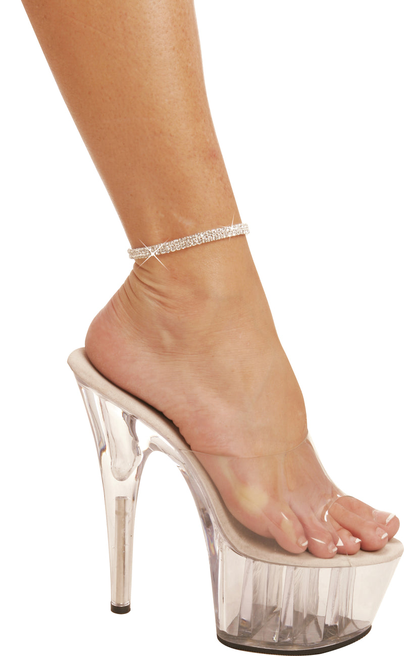 Two Row Rhinestone Anklet. silver