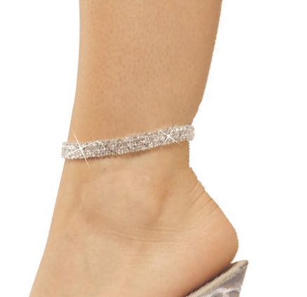 Three Row Rhinestone Anklet silver