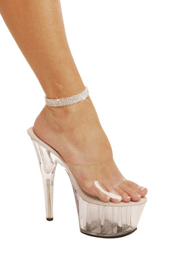 Four Row Rhinestone Anklet silver
