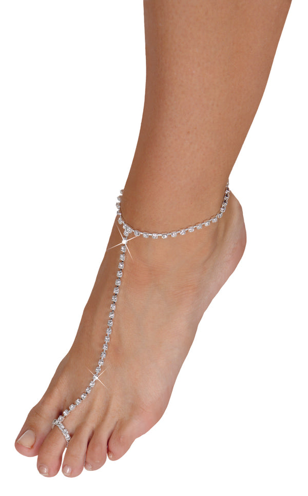Rhinestone Toe/Anklet silver