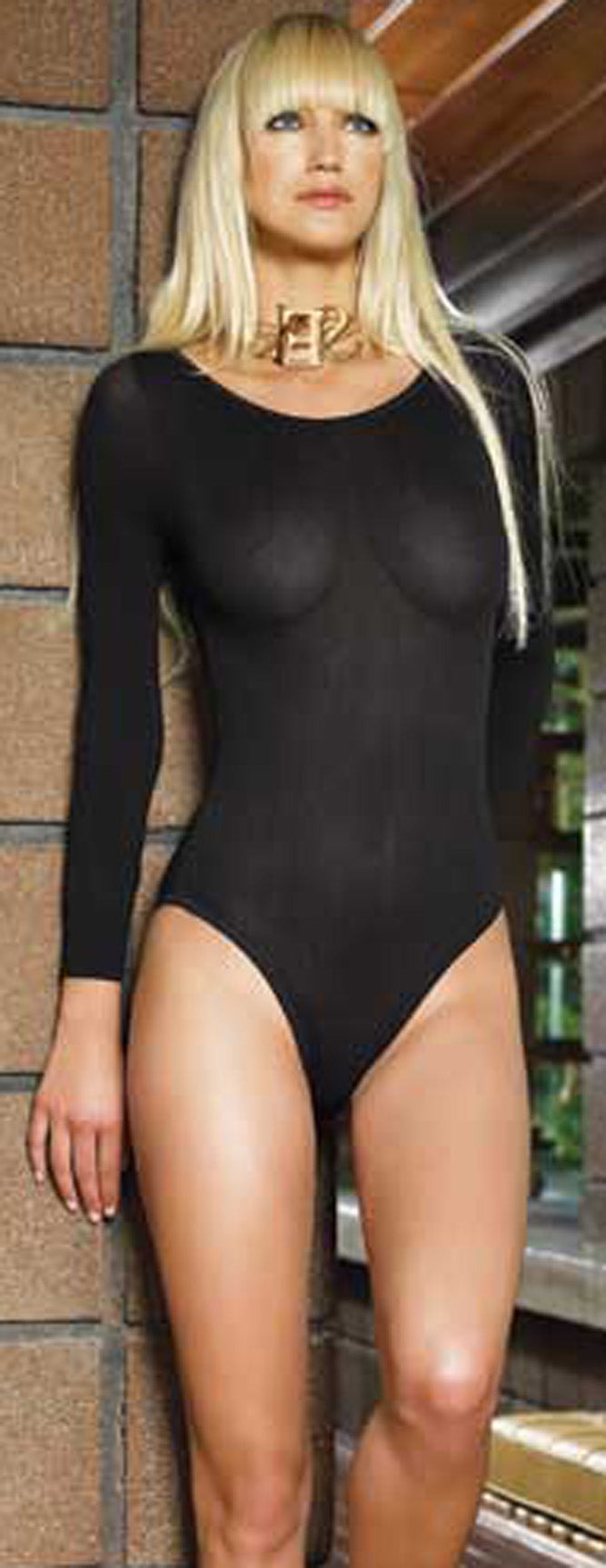 Opaque Long Sleeves Bodysuit LA8578 Main