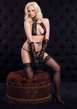 Naughty Lace Set Leg Ave 86087 Black