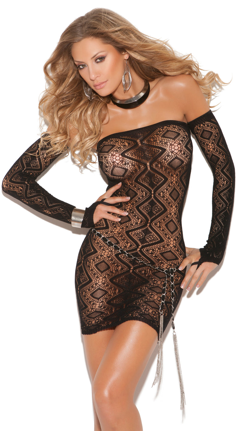 Diamond Pattern Bandeau Dress Black Front EM8742