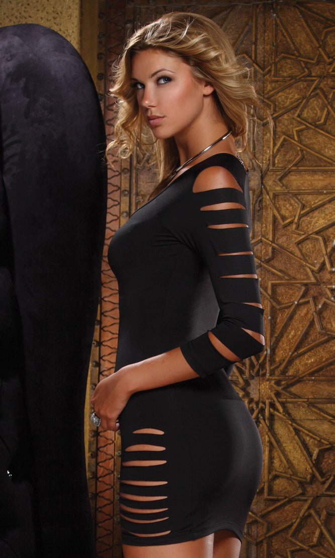 Black Entice Off Shoulder Dress Back Full FP882010