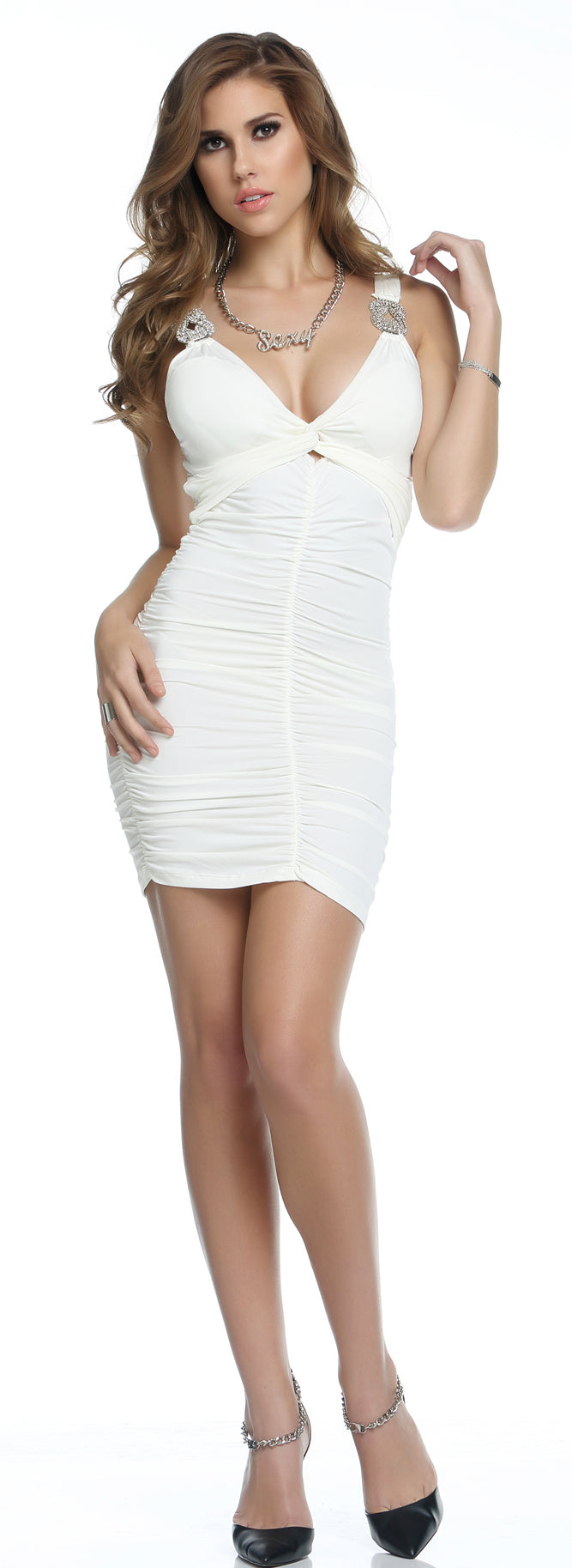 White Novi Scruntch Dress Full FP883832