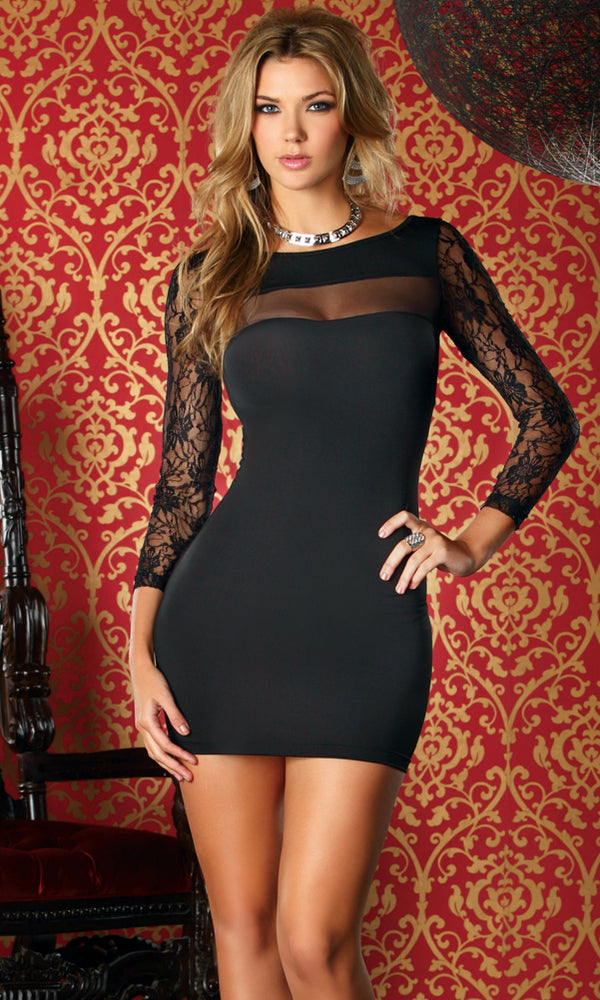 Dali Short Dress Black Front  FP883855
