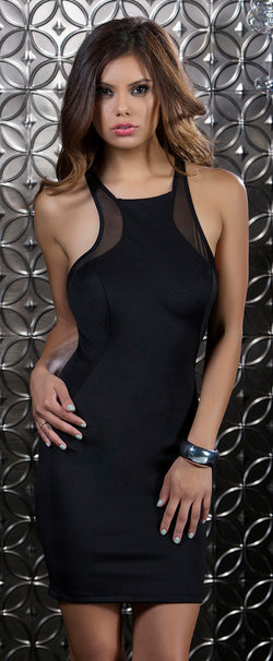 Black Superior Scuba Mesh Contrast Dress Front FP883916