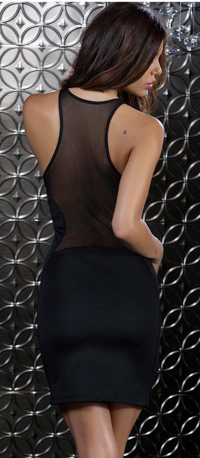Black Superior Scuba Mesh Contrast Dress Back FP883916