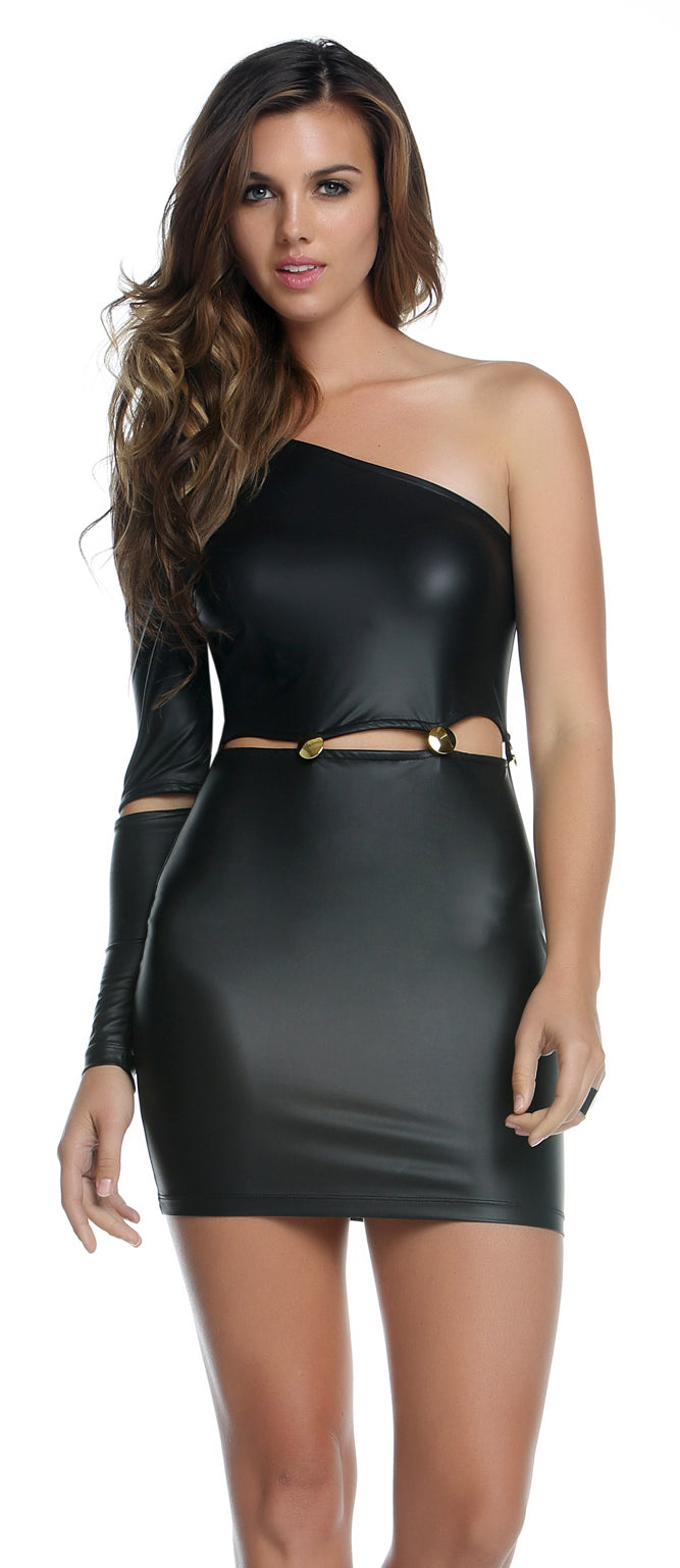 Black Kennedy Gold Button Dress Front FP884541