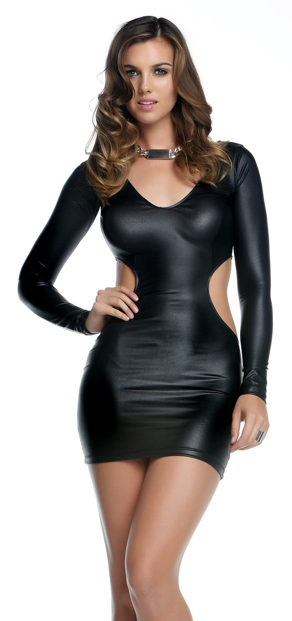 Black Quinn Matte V-Neck Cutout Dress Front FP884581