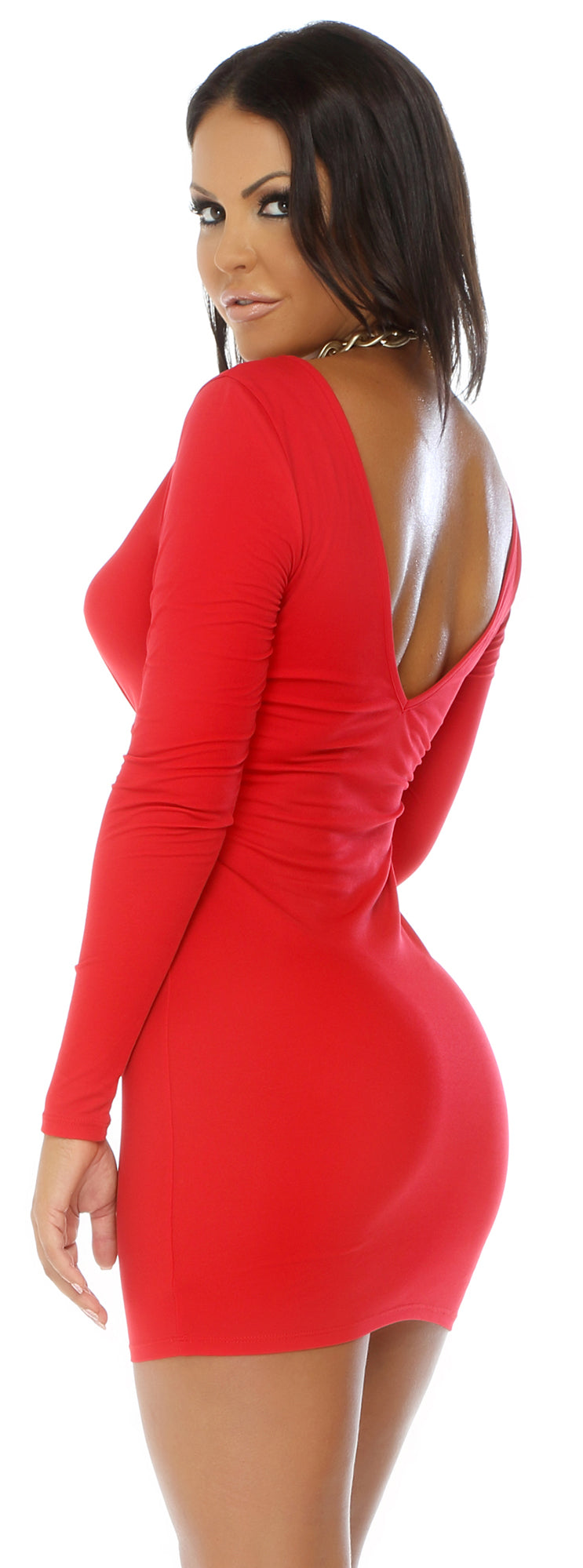 Long Sleeve Bodycon Mini Dress Red Back FP884722