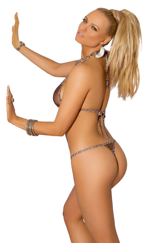 Leopard Mesh Triangle Top and Thong  Back EM8960