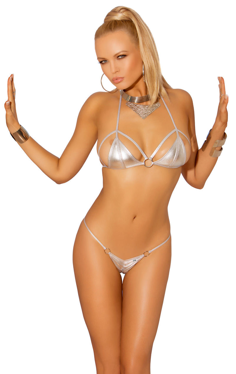 Metallic Silver Strap Bra and Thong Front EM8966