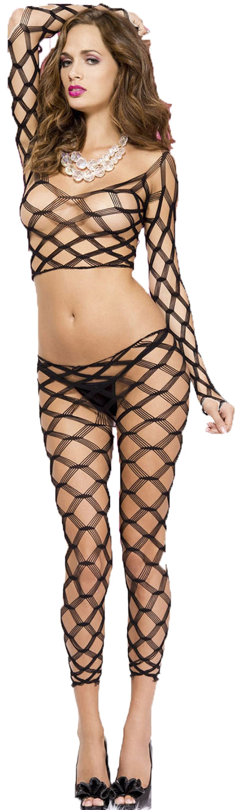 ML-9309-HON Multi fence net dancewear black front