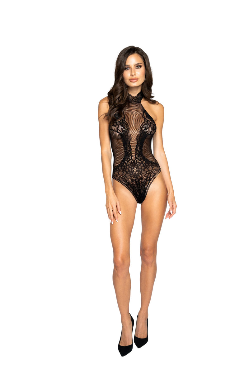 Envy Corner Halterneck Bodystocking Teddy Stunning See-Through Black Bodystocking with Fishnet and Lace Inserts with a Thong Back