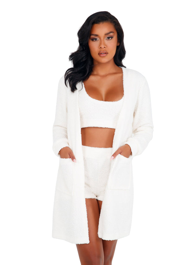 1pc Cozy & Comfy Fuzzy Robe with Pockets