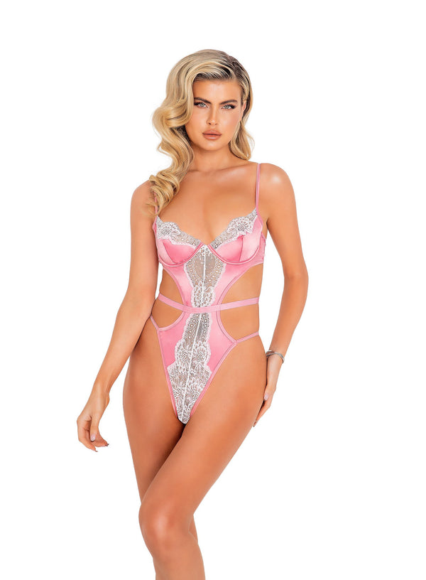 1pc Satin & Lace Underwire Teddy